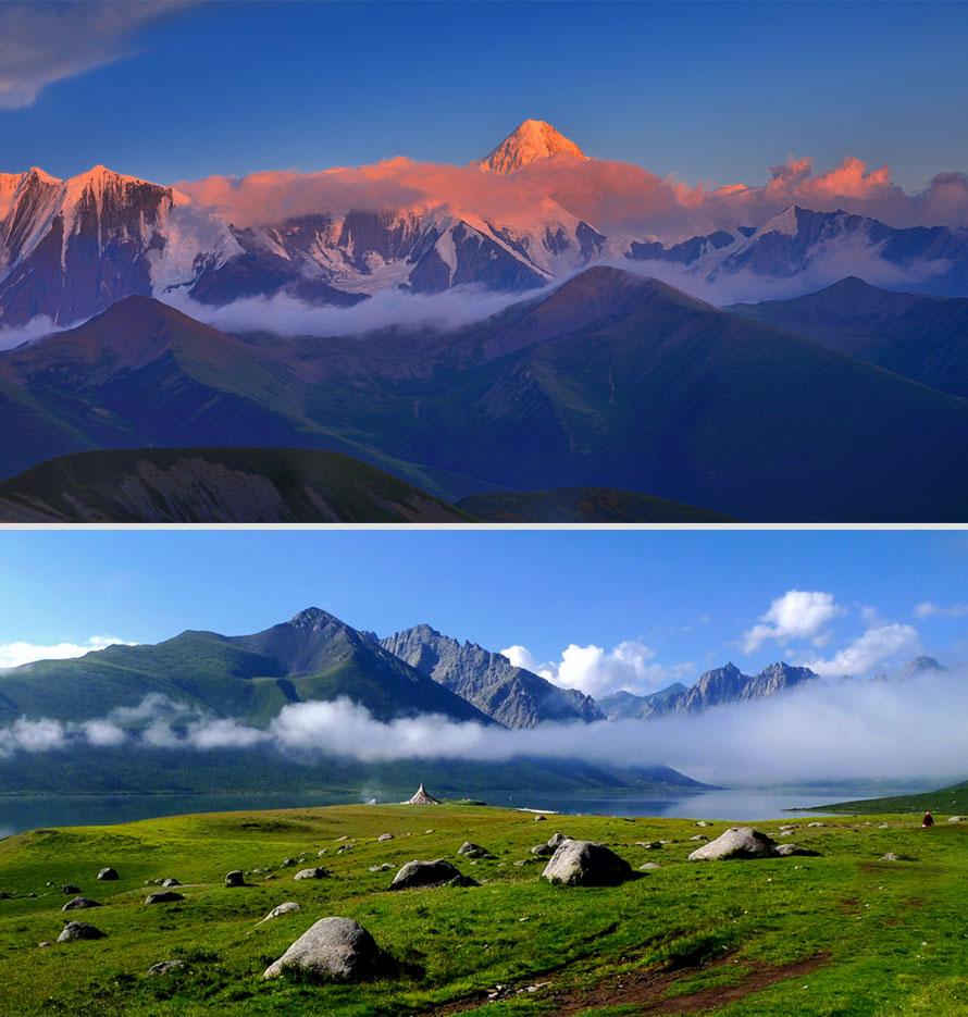 """清晨观雅拉日照金山,塔公看雅拉神山从草原拔地而起,巍峨壮观,终年银装披挂,群云缭绕,与广袤的秋色草原和金碧辉煌的塔公寺相衬托,展示了一幅秀丽的高原风光,浓郁的藏乡风情。告别藏语意为""""菩萨喜欢的地方""""塔公,沿着美丽、宁静的河流、草原、森林川藏北行,顿时心旷神怡。经八美、炉霍途中欣赏辽阔绮丽的龙灯坝大草原、鲜水河谷,远眺群峰峥嵘,饱览卡萨湖蓝宝石般的美丽湖光和连绵的沙鲁里山脉雪山群峰。从锣锅梁子下来,就进入了一个巨大平坦的盆地,公路两旁的田里全是绿绿地青棵田,头顶白云朵朵,达到洁白美丽的甘孜县城。"""