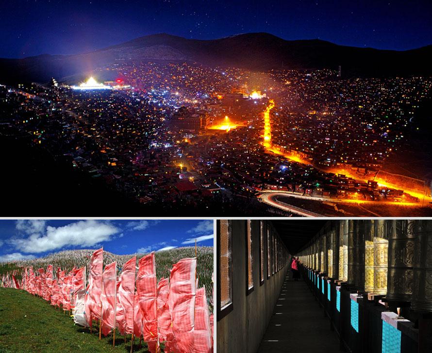 """全天色达一日摄影创作,拍摄色达朝霞、寺庙全景、宗教活动、晚霞等。色达是世界上最大藏传佛教佛学院所在地。色达是藏语""""金马""""的意思,传说因在这片富饶而美丽的草原上曾发现过""""马头""""形金子,为后人祈祷福祉而得名。距色达县城20公里有一条山沟叫喇荣沟,顺沟上行数里,蔚蓝苍穹之下,银岭碧草之间,数千间赫红色的木屋,如众星拱月般簇拥着几座金碧辉煌的大殿--它就是藏于山谷中的喇荣寺五明佛学院,也称色达佛学院。倾听着似天籁的颂经声,融入在上万喇嘛、觉母的红色海洋,空气中充满生机和祥和气氛,同时感受着藏传佛教的宗教神韵。如幸运的话,可目睹一生难见的天葬奇俗,色达天葬台是整个藏区最大的著名的""""天顶天葬台""""。"""