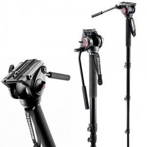 曼富图新款MVH500AH液压摄像独脚架